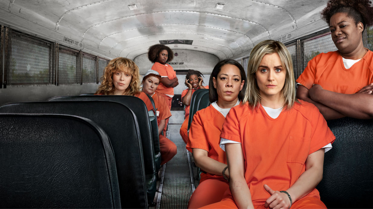 Show poster. Main cast on a prison bus