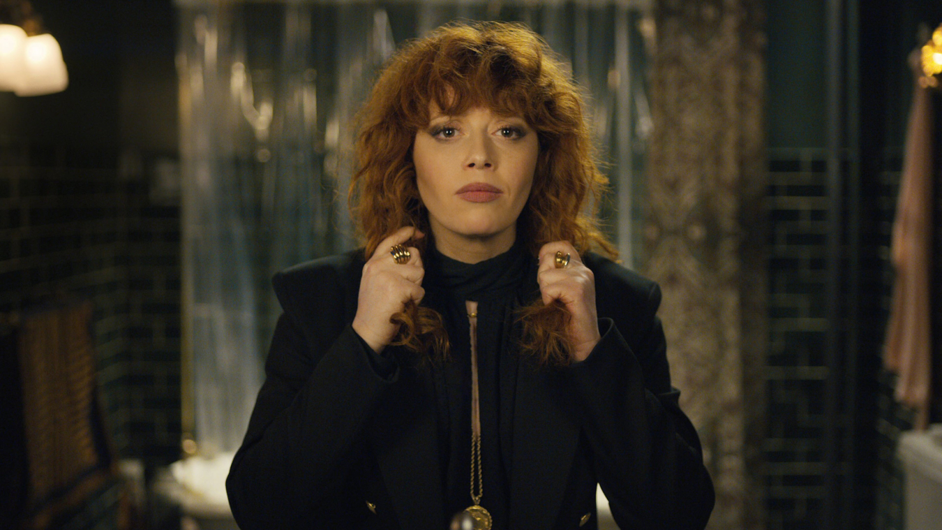 Russian Doll opening shot, Nadia's reflection looking in the mirror